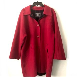 Burberry's Red Wool Coat Long Length Vintage
